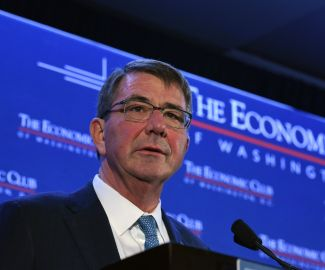 Secretary Ashton Carter addresses the Economic Club. Photo Credit: The Economic Club of Washington, D.C./Joyce N. Boghosian