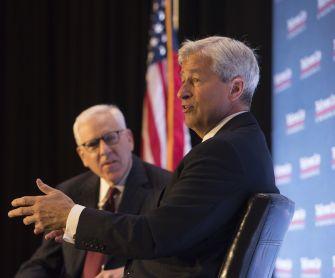 James Dimon speaks with David Rubenstein and the Economic Club. Photo Credit: The Economic Club of Washington, D.C./Joyce N. Boghosian